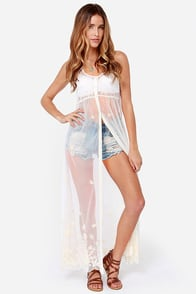 Billabong Vivid Nights Ivory Embroidered Cover-Up