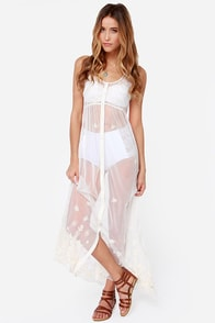 Billabong Vivid Nights Ivory Embroidered Cover-Up at Lulus.com!