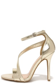 Dance with Somebody Gold Dress Sandals at Lulus.com!
