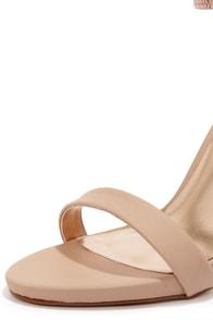 Dollhouse Puruse Blush Metallic Single Strap Heels at Lulus.com!