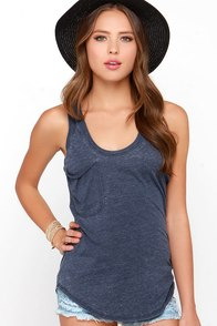 Z Supply Fly as You Might Denim Blue Burnout Tank Top at Lulus.com!