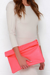 Roll Along Neon Coral Clutch at Lulus.com!