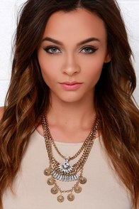 Your Biggest Fan Gold Rhinestone Statement Necklace at Lulus.com!
