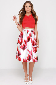 Fragrance Of Flowers Ivory And Red Floral Print Midi Skirt at Lulus.com!