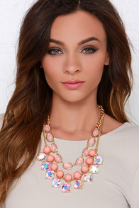 Gorgeous Creature Coral Rhinestone Statement Necklace at Lulus.com!