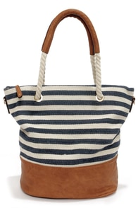 Sail Away with Me Ivory and Navy Blue Striped Tote at Lulus.com!