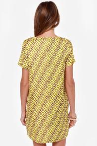 Design Me Up Yellow Print Shift Dress at Lulus.com!
