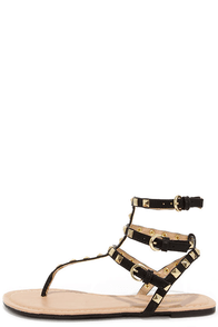 Riddle of the Sphinx Black Studded Thong Sandals at Lulus.com!