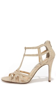 Nina City Champagne Bliss Gold Dress Sandals at Lulus.com!