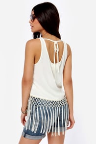 Others Follow Panther Cream Fringe Tank Top at Lulus.com!