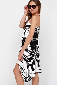 Swing Me a Song Black and Ivory Print Dress at Lulus.com!