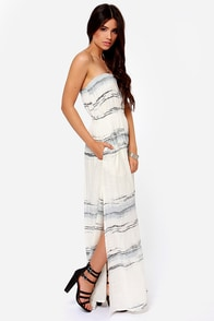 O'Neill Waterfall Cream Print Strapless Maxi Dress at Lulus.com!