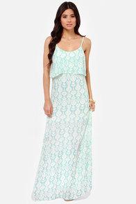 O'Neill Brie Aqua Print Maxi Dress