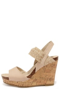 Madden Girl Feliciti Natural Wedge Sandals at Lulus.com!