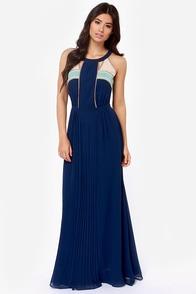 Moonlit Stroll Navy Blue Maxi Dress at Lulus.com!
