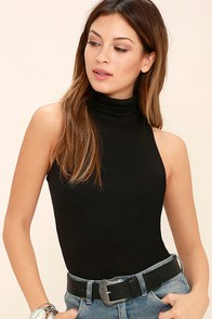 Alive and Kicking Black Sleeveless Turtleneck Top