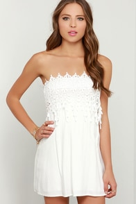 Pace And Patience Strapless Ivory Lace Dress at Lulus.com!