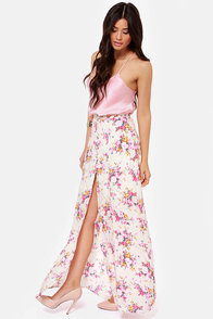 Garden Pixie Cream Floral Print Maxi Skirt at Lulus.com!