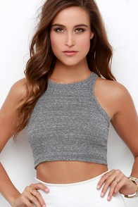 Aviary Escape Grey Racerback Crop Top at Lulus.com!