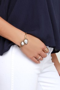 Curves You Right Gold and Ivory Bracelet at Lulus.com!