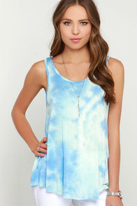 Sky is Falling Blue Tie-Dye Tank Top at Lulus.com!