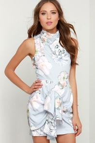 Finders Keepers Earthly Treasures Grey Floral Print Dress at Lulus.com!