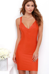 Flash of Flame Coral Red Bodycon Dress at Lulus.com!