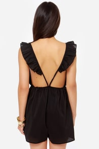 Reverse Flutter Sleeve Backless Black Romper at Lulus.com!