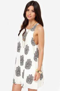 Reverse Hamsa Hand Ivory Print Dress at Lulus.com!
