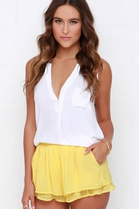 Ruffle Mania Yellow Shorts at Lulus.com!