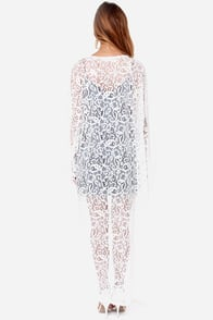 Reverse Stevie Nicks White Lace Kimono Top at Lulus.com!
