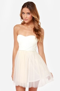 Bohemian Belle Strapless Ivory and Blush Dress
