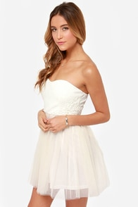 Bohemian Belle Strapless Ivory and Blush Dress at Lulus.com!