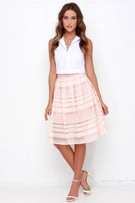 Mid Thought Peach Midi Skirt at Lulus.com!