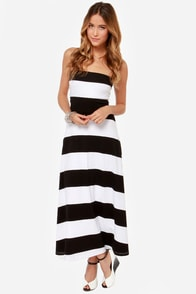 All Bands on Deck Black and White Striped Maxi Dress