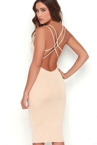 Jersey Girl Beige Backless Midi Dress at Lulus.com!