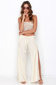Billabong Salty Wavez Cream Embroidered Pants at Lulus.com!