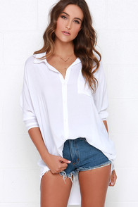 Essential Experience Ivory Oversized Button-Up Top at Lulus.com!