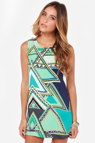 Couldn't Ask for Motif Blue Silk Shift Dress at Lulus.com!