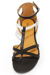 Promise Muubaa Black and White T-Strap Sandals at Lulus.com!