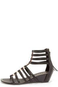 Report Megan Black Caged Wedge Gladiator Sandals