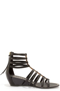 Report Megan Black Caged Wedge Gladiator Sandals at Lulus.com!