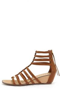 Report Megan Tan Caged Wedge Gladiator Sandals