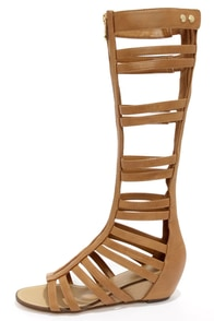 Report Signature Mesa Tan Tall Caged Gladiator Sandals