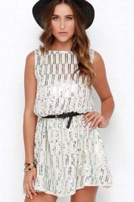 Just Dance With Me Beige Backless Sequin Dress at Lulus.com!