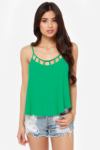 Strappy Hour Green Tank Top
