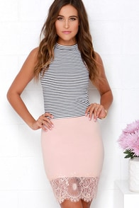 Suit Your Fancy Blush Pink Lace Skirt at Lulus.com!