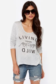Run Wild Hooded Light Grey Top at Lulus.com!