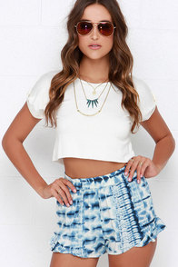 Billabong Island Escape Blue Tie-Dye Shorts at Lulus.com!
