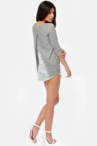 Friends in High Laces Grey Lace Sweater at Lulus.com!